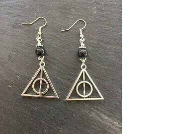 Earrings - Deathly Hallows - Onyx - Harry Potter