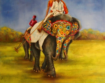 Indian Polo Players on Painted Elephants
