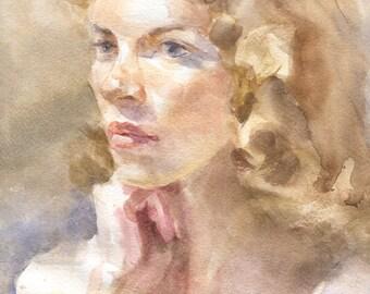 Portrait, Custom watercolor portrait, Watercolor portrait, Portrait from photo, Impressionistic portrait, Impression watercolor portrait.