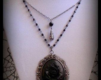 SALE 50% OFF - LUCINDA Romantic Neo Victorian Mourning Gothic Noir Gunmetal Black Rose Cameo Necklace