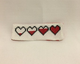 Heart Gauge, Cross Stitch Sew on Patch/Bookmark