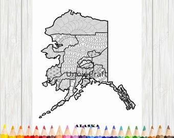 Alaska Map Coloring Wall Art Usa Printable State Maps