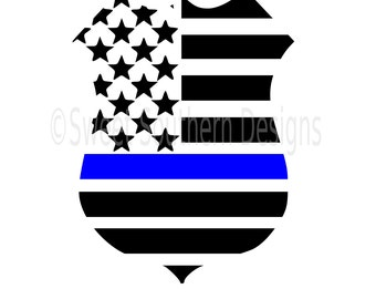 Police badge American flag thin blue line with heart SVG instant download design for cricut or silhouette