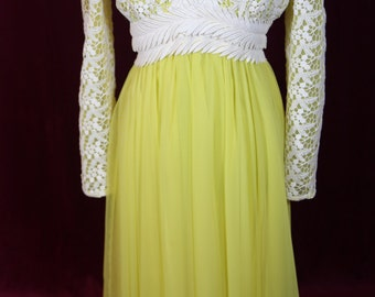 Vintage 1960's yellow and white lace dress