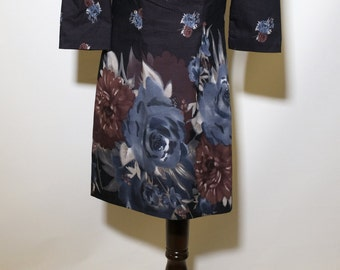 Floral Dress Dress Floral Mini Dress Rayon Dress 90s Dress Floral Dress Vintage 90s Clothing Black Floral Dress