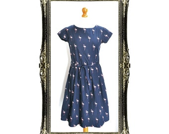 Vintage Inspired Flamingo Print Tea Dress