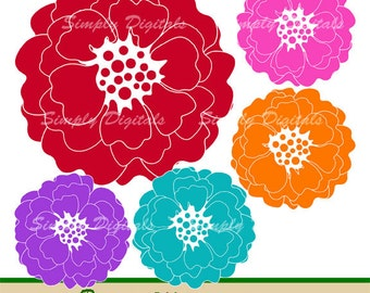 Peonies Clipart. Flower Clipart. Wedding Clipart. Red. Blue. Pink. Peach. Purple. Invites. Greetings. Scrapbooking. SD