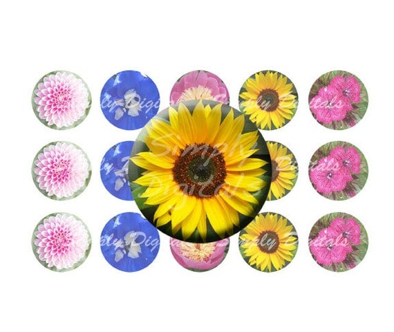 1 circle flower bottle cap digital collage by for How to make bottle cap flowers