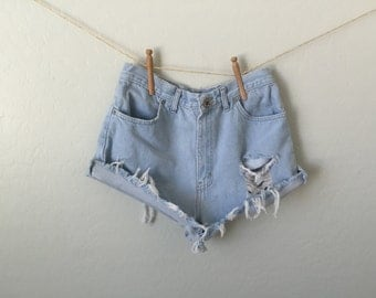 Distressed High Waisted Shorts | Mom Shorts | Blue Jean Cut Off Shorts | Fringed Frayed Denim