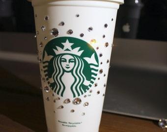 Starbucks Grande Re-usable Swarovski Crystal 001 Adorned Hot Cup *Ready to Ship