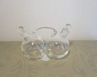 Vintage Double Chamber Oil & Vinegar Glass Cruet Set