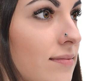 Silver 2mm Garnet Nose Stud 18g / Tragus Stud, Cartilage Stud, Nose Hoop / Forward Helix Earring, Tragus Earring, Nose Piercing, Nose Ring