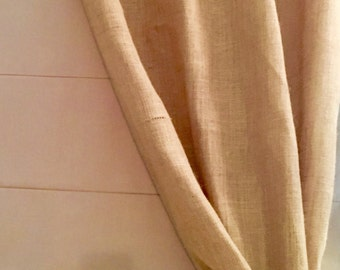 "40"" Wide Burlap Curtain Panel + Unique Handmade Tie-back"