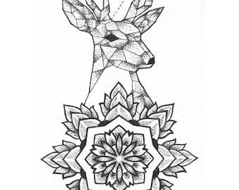 Stag Mandala Limited Edition Print