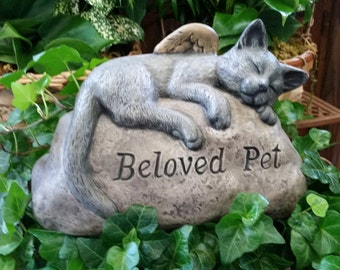 Ceramic Beloved Pet Cat Rock, Angel Cat, Cat Memorial Rock, Memorial Rock, Pet Grave Marker, Pet Sympathy Rock, Ceramic Cat, Cat Grave Stone