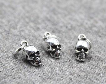 Sterling Silver Skull Charm, Sterling silver skull pendant, Sterling Silver Skull