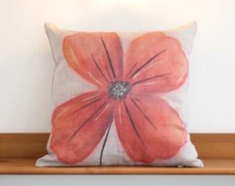 Linen Cushion Cover - Poppy Design, 100% Linen, Flower, Floral, home decor, cream, linen, pillow, rustic, natural
