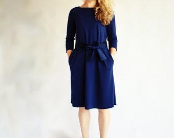 Dark blue sleeve dress, navy dress with pockets, casual dresses, a line dress, long sleeve dress, midi dress, womens dresses, spring dress