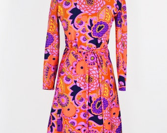 1960's Psychedelic Print Scooter Dress from Toby Tanner by Marjorie Scott/Size Md