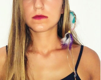 boho feather turquoise pink headpiece