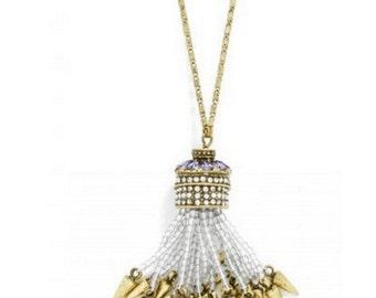 Beaded Spike Long Tassel Necklace