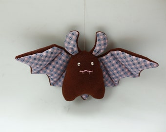 handmade stuffed toy cute purple pink flower plush bat