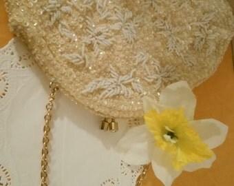 Vintage Gold and White Beaded Handbag