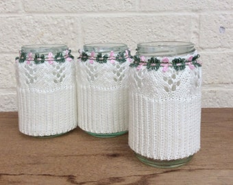 Cotton Knitted Sleeved Glass Jar