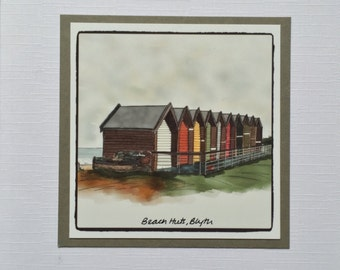 "Blyth Beach Huts Quality Card, 6x6"" (15x15cm), Digital Print"