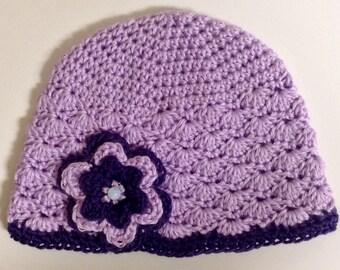 Lavender Shell Stitch Beanie w/ Flower Embellishment
