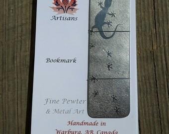 "Handmade pewter bookmark ""Gecko"""