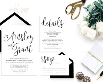 Printable Wedding Invitation Suite / Calligraphy / Wedding Invite Set - The Ainsley Suite