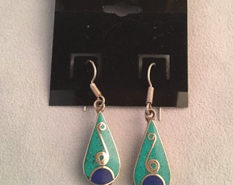 Turquoise and Blue Lapis Drop Earrings