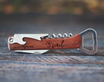 Custom Wooden Corkscrew, Engraved Wine Opener, Best Man Gift, Groomsman Gift,Beer Opener, Wedding Party, Customized Bottle Opener, Wedding