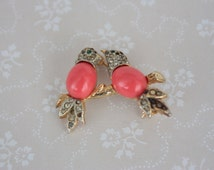 Vintage Jelly Belly Style Brooch - Two Birds on a Branch Pin - Pink Cabochon Rhinestone Pin - Bird Figural Brooch
