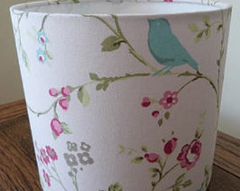 Handmade Drum Lamp Shade in Bird and Butterfly fabric