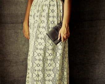 Bohemian Maxi Skirt, Ivory Lace Skirt, Wedding Maxi Skirt, Elegant Lace Skirt with Belt- Made to order