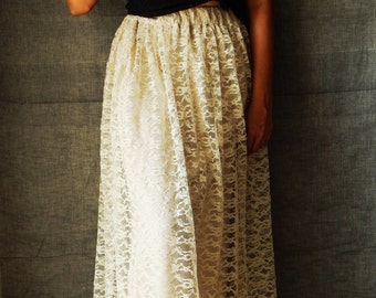 Elegant Lace Skirt, Bohemian Skirt, Bridal Lace Skirt, Ivory Maxi Skirt, Festival Clothing- Made to order
