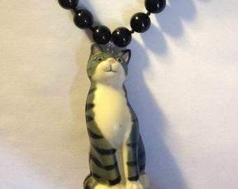 Upcycled crazy cat lady necklace