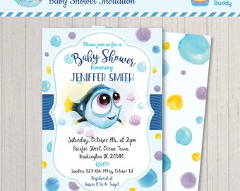 Finding Dory Baby Shower Invitation   Baby Dory On The Way   Under The Sea   PERSONALIZED Invite   Digital Printable