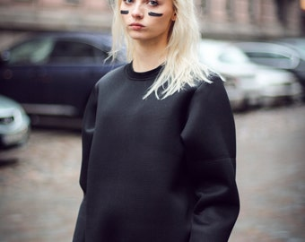 Black Neoprene Sweatshirt
