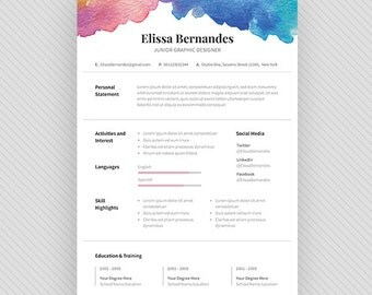 resume template cv template cover letter for ms word and photoshop instant digital - Hairstylist Resume Template