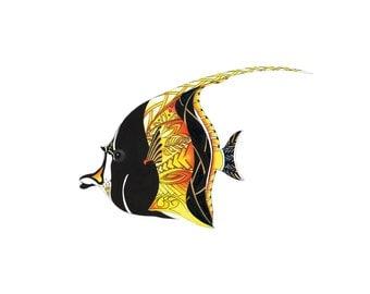 Moorish Idol,  Tropical fish art, Moorish Idol fish watercolor,Fish illustration, Reef Fish print, Beach house decor