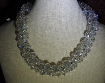stunning vintage faceted aurora borealis crystal wreath necklace 18-20 inches