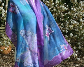 Silk scarf with butterfies in purple and blue. NEW PRICE.