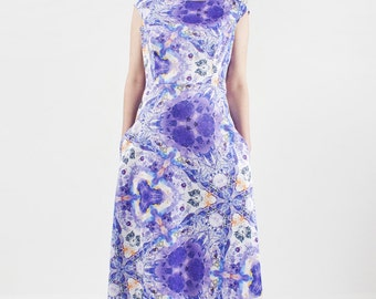 Lavender romantic dress with kaleidoscope original designer print