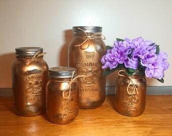 Gold mason jar kitchen canister set, mason jar decor kitchen containers, jar organization, old farmhouse decor, rustic decor