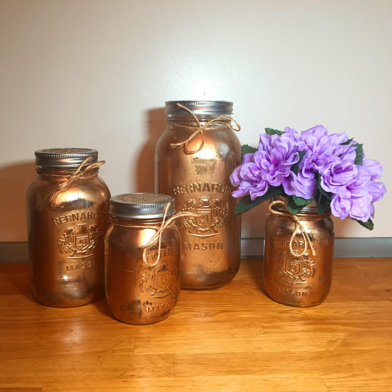 Mason Jar Kitchen Decor Set: Gold Mason Jar Kitchen Canister Set Mason Jar Decor Kitchen
