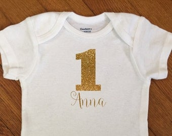 SALE! Personalized First Birthday Shirt, 1st Birthday Outfit, Glitter Number 1 Name Birthday Bodysuit, First Birthday Onesie®, 2nd Birthday
