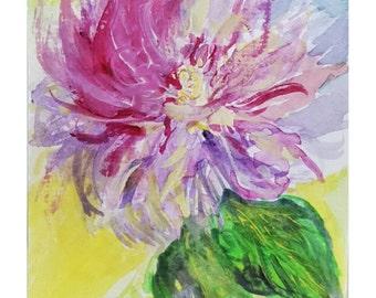 "FirelilyCo Original Watercolor Painting, Rose of Sharon, 4"" x 6"""
